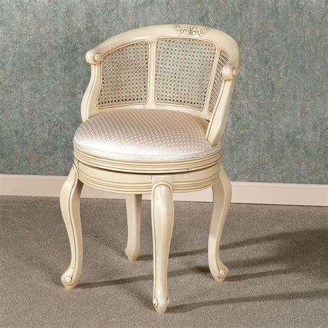 shabby chic vanity chair antique white painted mahogany wood swivel vanity bench with satin seat cushion of shabby chic