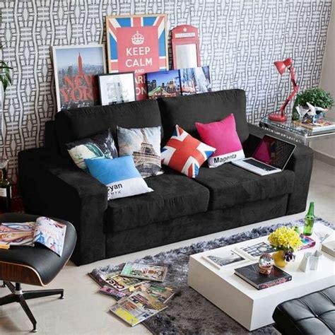 decorar sala sofa preto decora 231 227 o de sala sof 225 preto 12 fotos salas pequenas