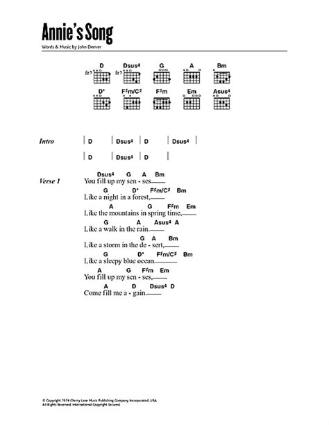 printable lyrics annie s song john denver annie s song sheet music by john denver lyrics chords