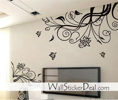 home decor stickers wall home decorating images lovely flower with butterfly wall