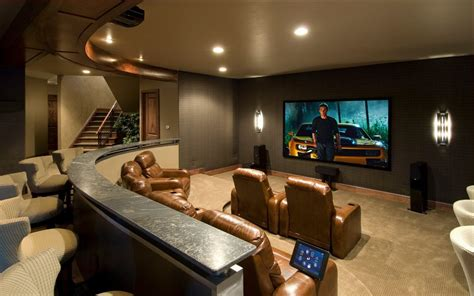 Contemporary Open Floor Plans Small Media Room Home Theater Traditional With Gray