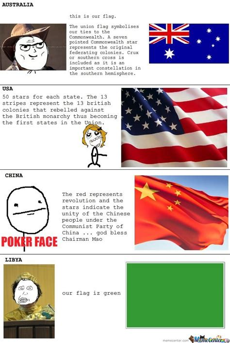 Flag Meme - australia usa china libya flags rage by serkan