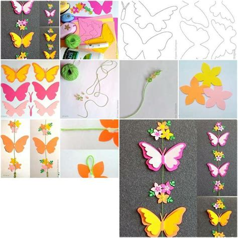 Paper Butterfly Craft - how to make paper butterfly mobile step by step diy