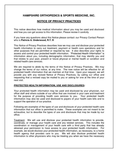 notice of privacy practices template 4 best images of hipaa privacy notice template 2013