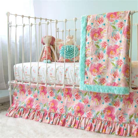 pastel crib bedding sets pastel peonies floral bumperless crib bedding lottie da