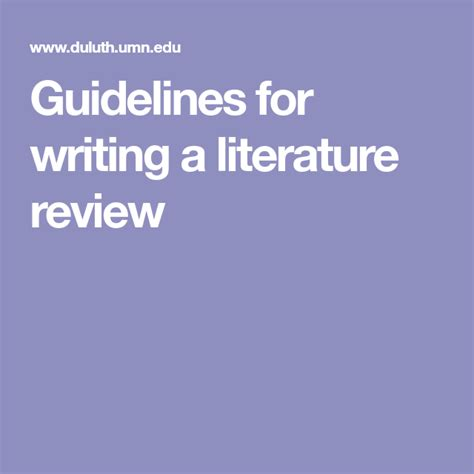 guidelines  writing  literature review research writing literature research