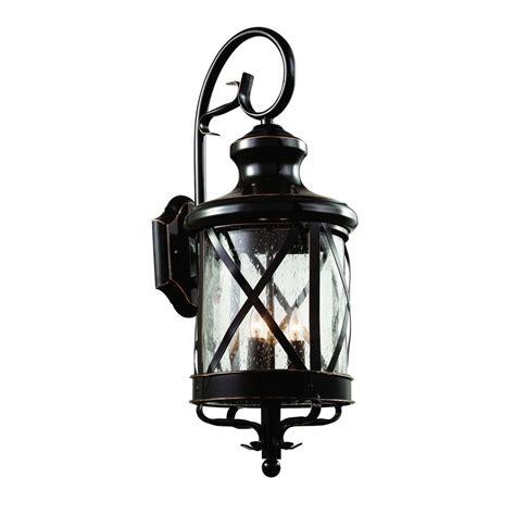 Bel Air Outdoor Lighting Bel Air Lighting Carriage House 3 Light Bronze Outdoor Coach Lantern With Seeded Glass