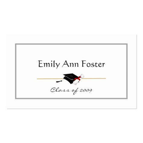 graduation name card template personalized graduation name cards sided standard