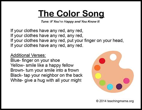 rhymes with color 10 preschool songs about colors