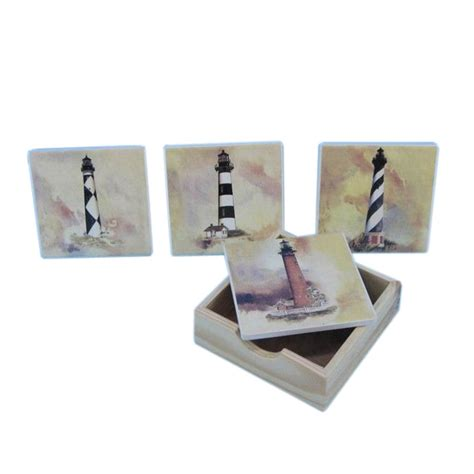 Wholesale Nautical Decor by Buy Set Of 4 Ceramic Lighthouse Coaster 4 Inch
