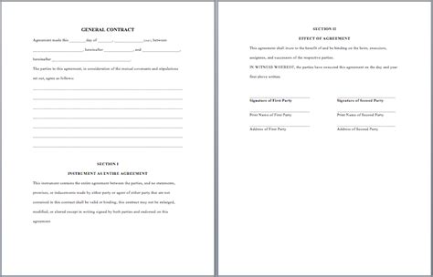 general agreement template 28 general contract agreement template 6 general