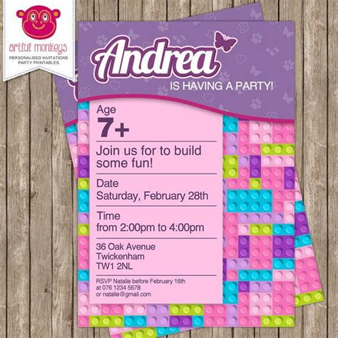 Best 25 Lego Friends Party Ideas On Pinterest Friends Themed Invitation Template