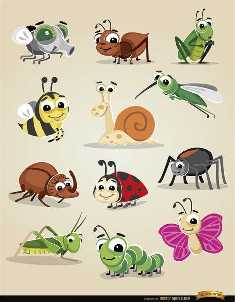 imagenes animales gratis insectos de dibujos animados icon set descargar vector
