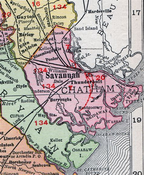 Chatham County Search Chatham County 1911 Map Rand Mcnally Montgomery Thunderbolt