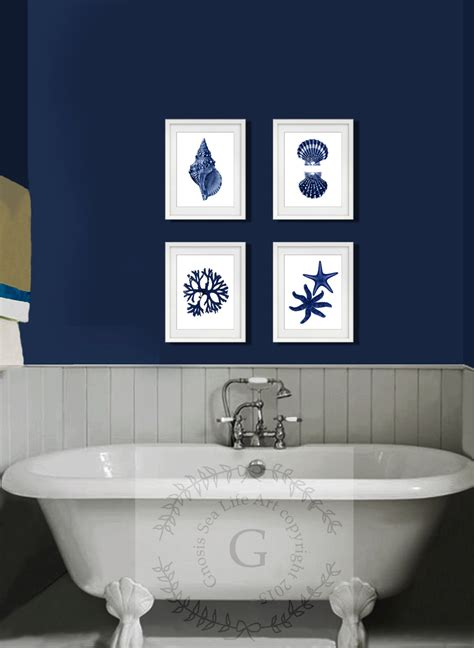 wall art bathroom decor coastal wall decor navy blue wall art set of 4 beach decor