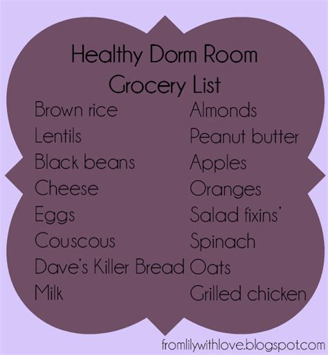 room grocery list from with