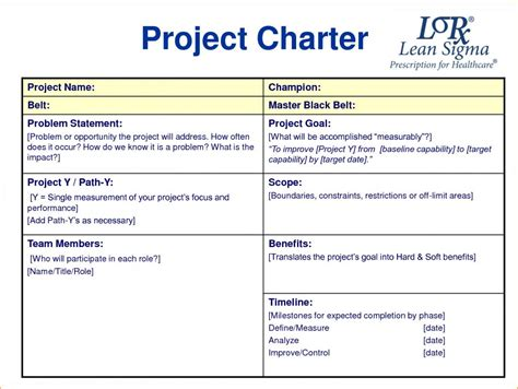 Project Template Magnificent Six Sigma Charter Template Gallery Exle
