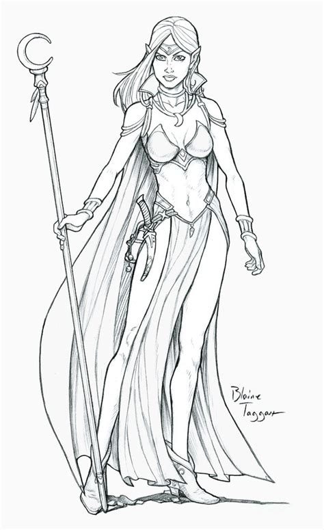 warrior girl coloring page motiv tetov 225 n 237 fantasy 1119