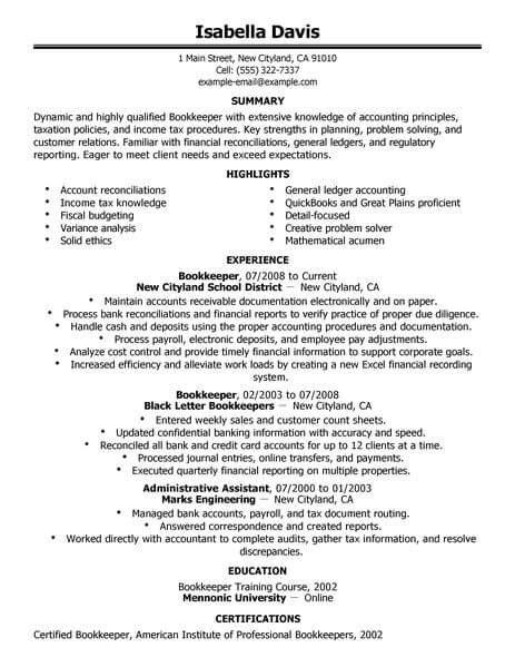 excellent bookkeeper resume sle best bookkeeper resume exle livecareer