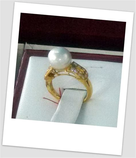 Cincin Handmade - handmade gold ring with south sea pearl ctr 055 harga