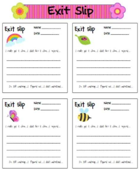 exit slips template 5 free printable writing templates teach junkie