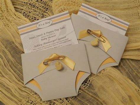 Origami Nappy - baby invitation grey and yellow sle by