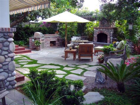 Garden Patio Designs And Ideas Landscape Design Back Patio Ideas Pictures With Outdoor Kitchen Fireplace And Lounge Chair With