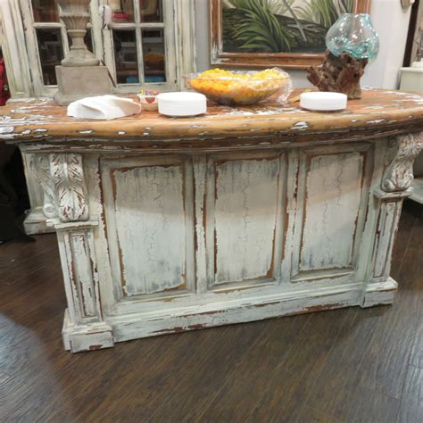 Distressed Kitchen Island | distressed french country kitchen island bar counter