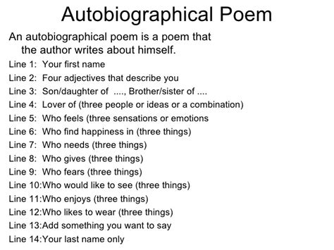 autobiography meaning exle of a student autobiographical poem with rules