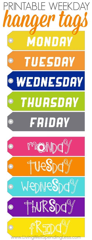 week day printable weekday hanger tags living well spending less 174