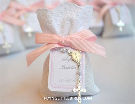christening lavender sachets with pink bow baby girl baptism - Christening Giveaways