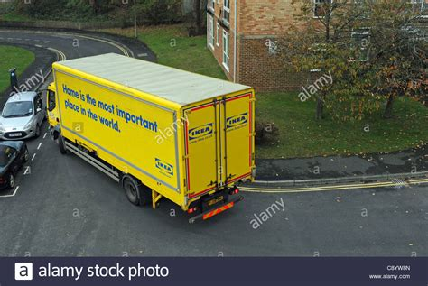 an ikea home delivery lorry negotiates narrow roads in