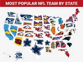 us map by nfl teams map shows the most popular nfl team in every state