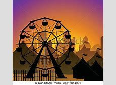 Ferris wheel and circus silhouette in front of a city in ... Ferris Wheel Vector Free Download
