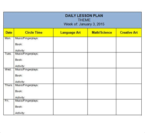 lesson plan template for kindergarten preschool lesson plan template 7 download free
