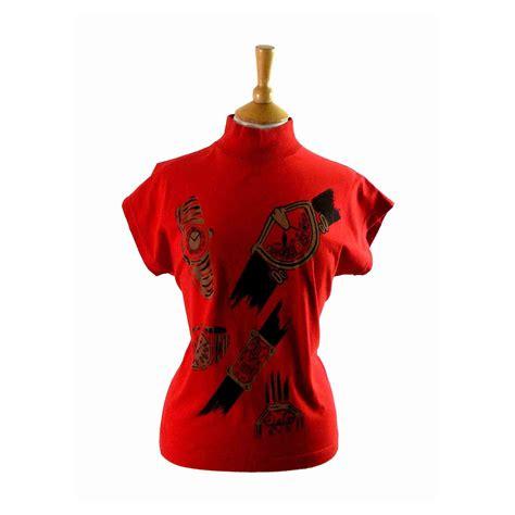 80s print t shirt 10 blue 17 vintage fashion