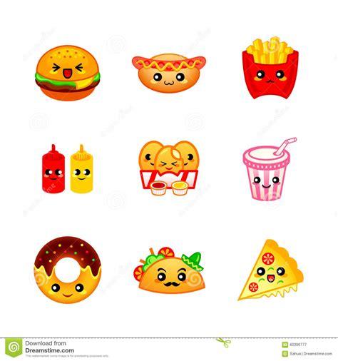 imagenes kawaii de comida chatarra leuke fast food pictogrammen vector illustratie