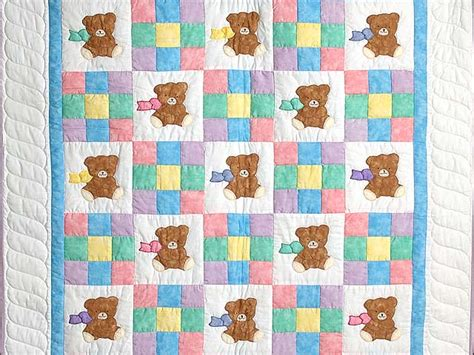 nine patch teddy quilt wonderful adeptly made