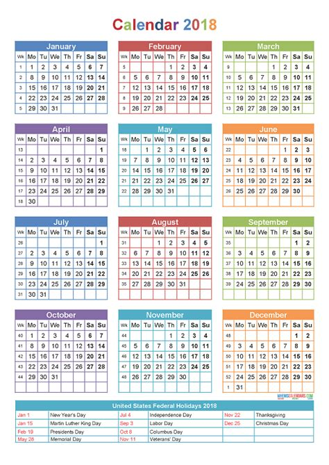 Calendar With Holidays For 2018 Printable Yearly Calendar 2018 With Holidays Template