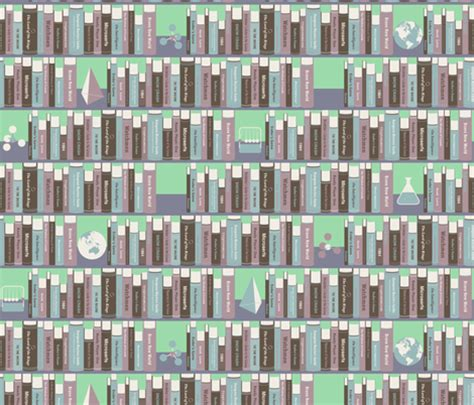 geeky bookshelf mint fabric zesti spoonflower