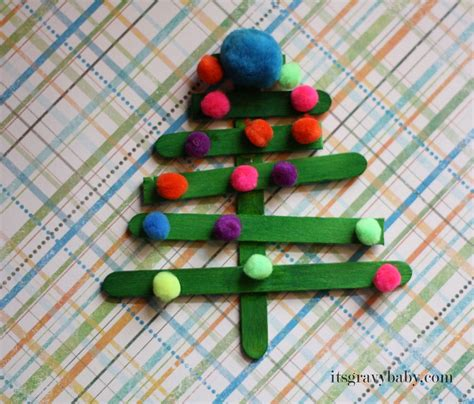 popsicle stick christmas trees preschool craft it s