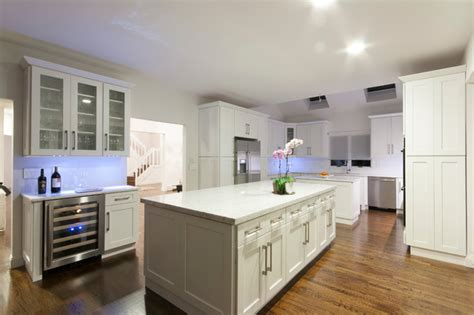 white shaker contemporary kitchen new york by