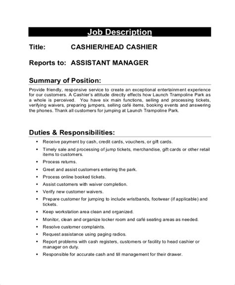 Cashier Job Description For Resume by Cashier Job Description Head Cashier Job Description Free