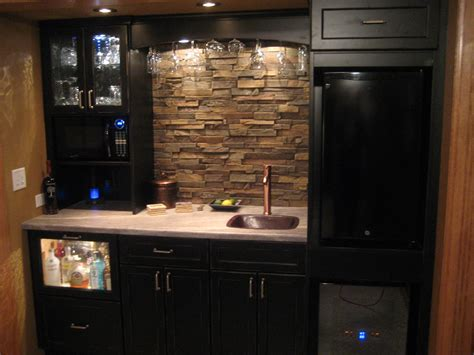 faux rock backsplash compact kitchen project creative faux panels
