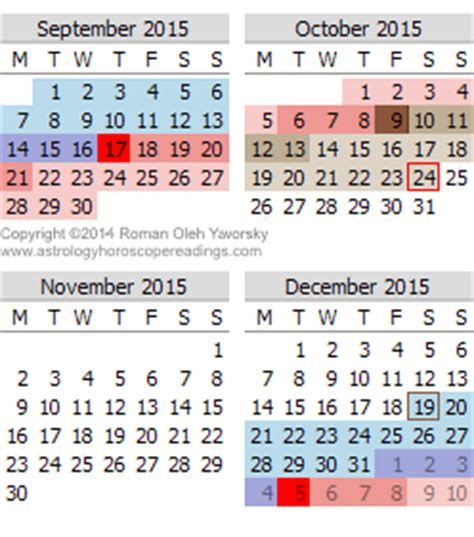 Calendar 2015 September To December 2015 Mercury Retrograde Calendar