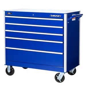 husky heavy duty 42 in 5 drawer cabinet tool chest blue
