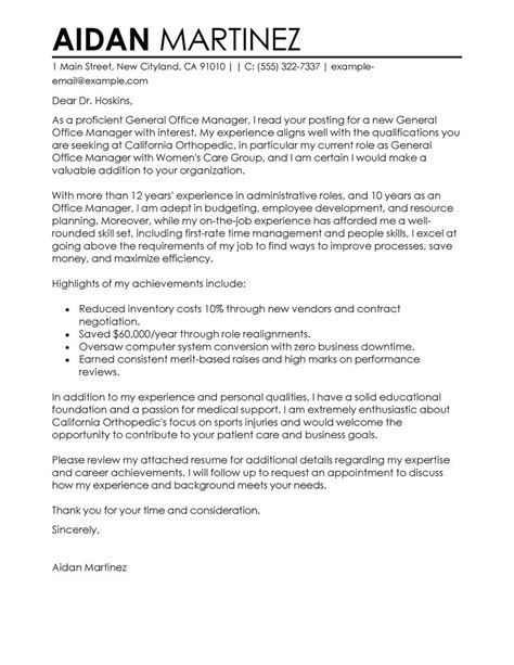 General Manager Cover Letter Exle Best Admin General Manager Cover Letter Exles Livecareer