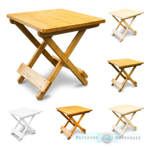Small Wooden Patio Table Side Table Small Wooden Snack Folding Outdoor Garden Patio Furniture End Bbq Ebay