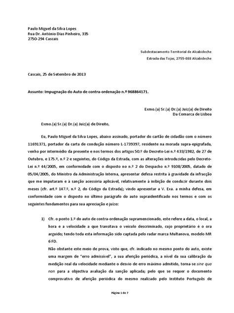 carta para transferencia de multa autocontraordenacao impugnacao