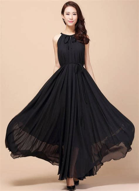 Ds4181 High Quality Chiffon Dress Black Murah Korean Style Wholesale